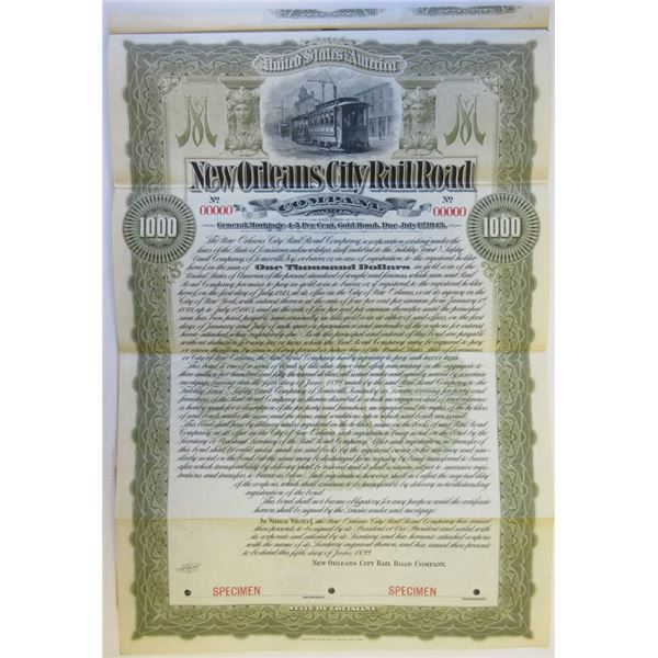 New Orleans City Rail Road Co., 1899 Specimen Bond Rarity