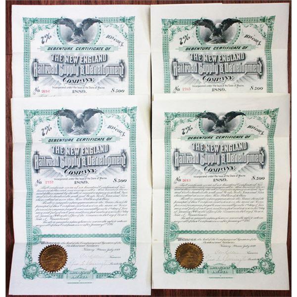 New England Railroad Supply & Development Co. 1889 Bond Quartet