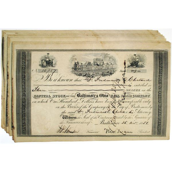 Baltimore & Ohio Rail Road Co. I/C Stock Certificate Group of 20, 1851