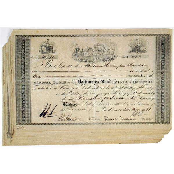Baltimore & Ohio Rail Road Co. I/C Stock Certificate Group of 21, 1851