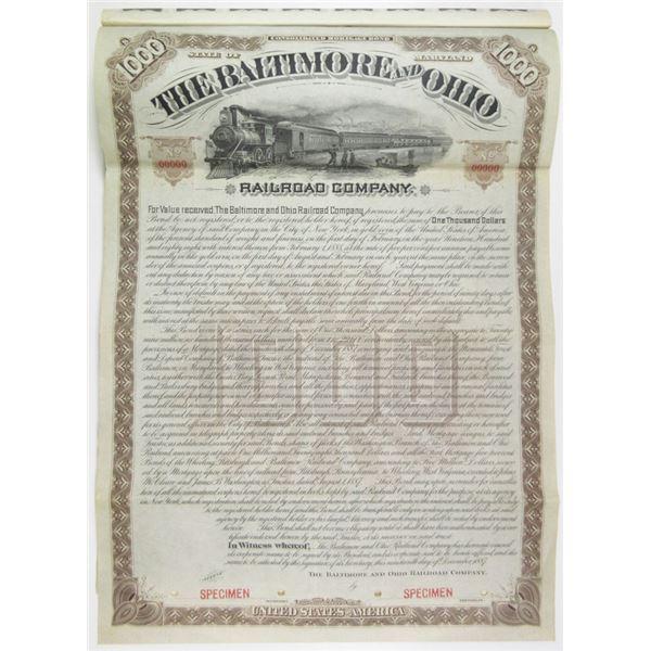 Baltimore and Ohio Railroad Co. 1887 Specimen Bond