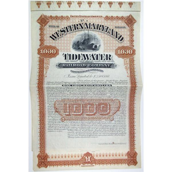 Western Maryland Tidewater Railroad Co., 1891 Specimen Bond