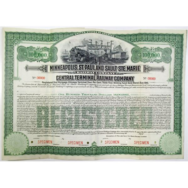 Minneapolis, St. Paul and Sault Ste. Marie Railway Co. and Central Terminal Railway Co. 1911 Specime