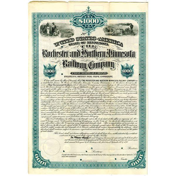 Rochester and Northern Minnesota Railway Co. 1878 Specimen Bond Rarity