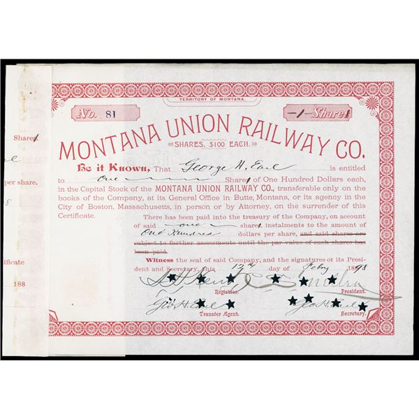 Montana Union Railway 1898 I/C Stock Certificate With Charles Mellon Autograph.