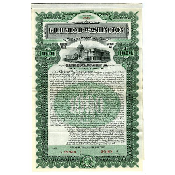 Richmond-Washington Co., 1904 Specimen Bond