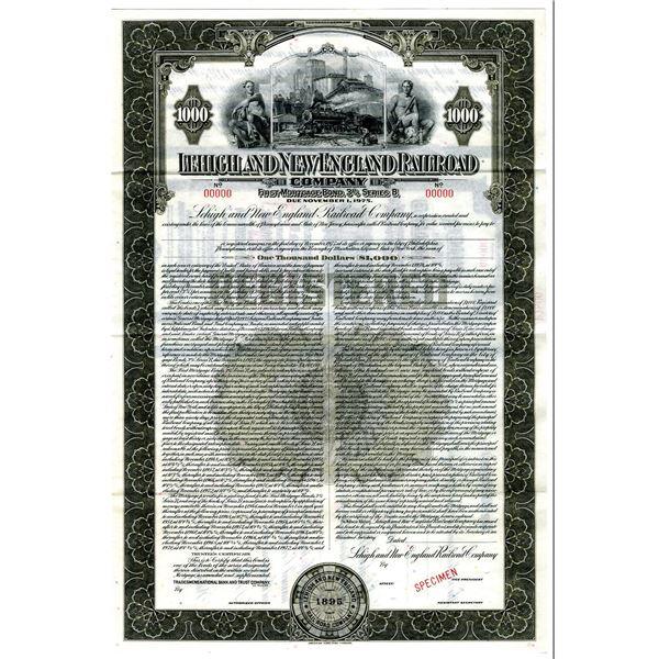 Lehigh and New England Railroad Co., 1935 Specimen Bond