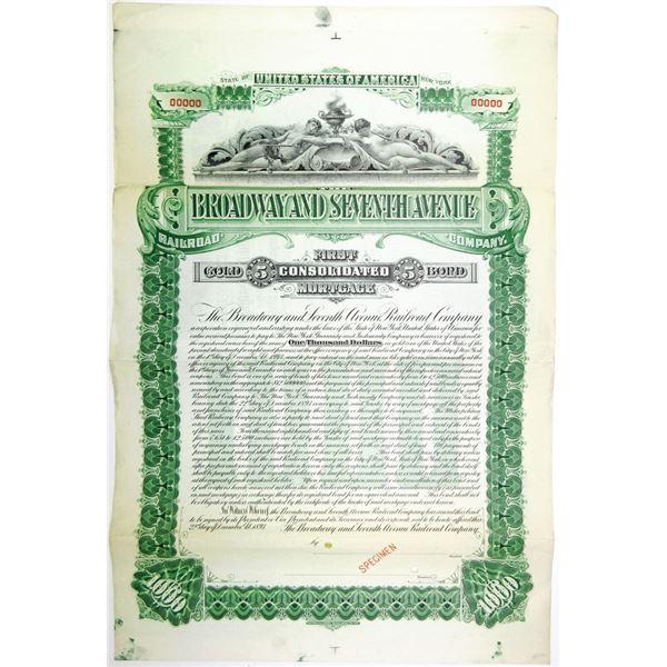 Broadway and Seventh Ave Railroad Co., 1893 Specimen Bond
