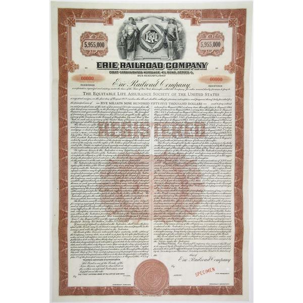 Erie Railroad Co., 1941 Specimen High Denomination $5,995,000 Registered Bond