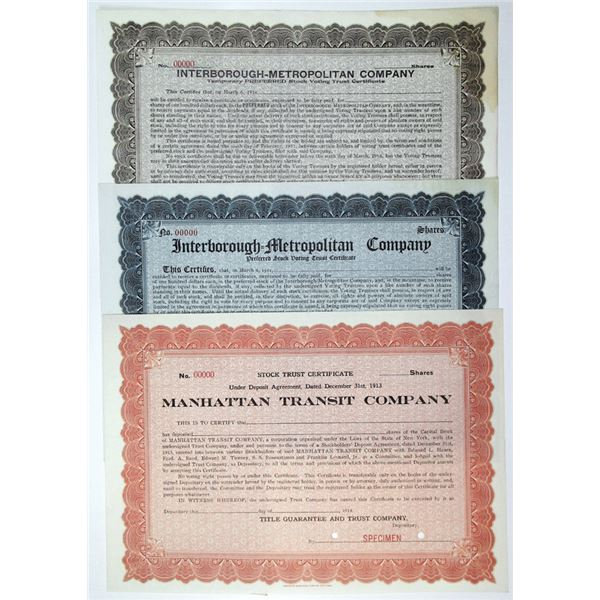 Interborough-Metropolitan Co. & Manhattan Transit Co. Specimen Stock Certificate Trio, ca. 1911-16