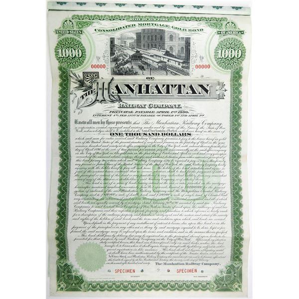 Manhattan Railway Co., 1890 Specimen Bond