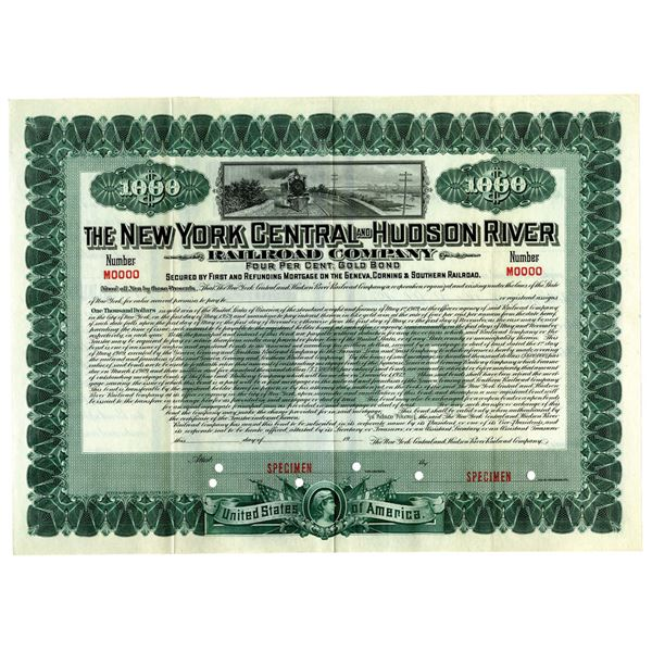 New York Central and Hudson River Railroad Co., 1909 Specimen Bond