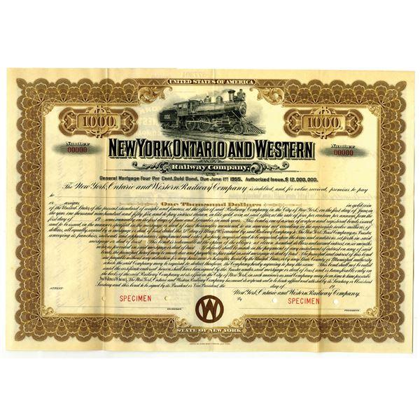 New York, Ontario and Western Railway Co., 1905 Specimen Bond