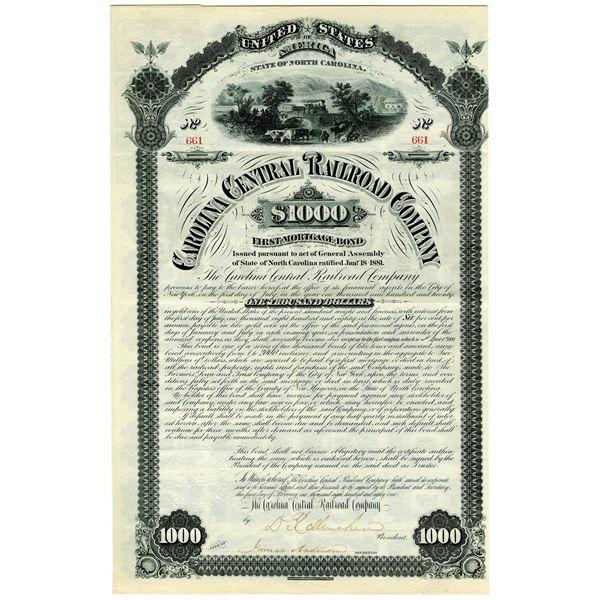 Carolina Central Railroad Co., 1881 I/U Bond.