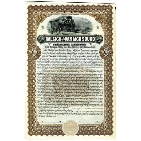 Raleigh and Pamlico Sound Railroad Co., 1904 Specimen Bond.