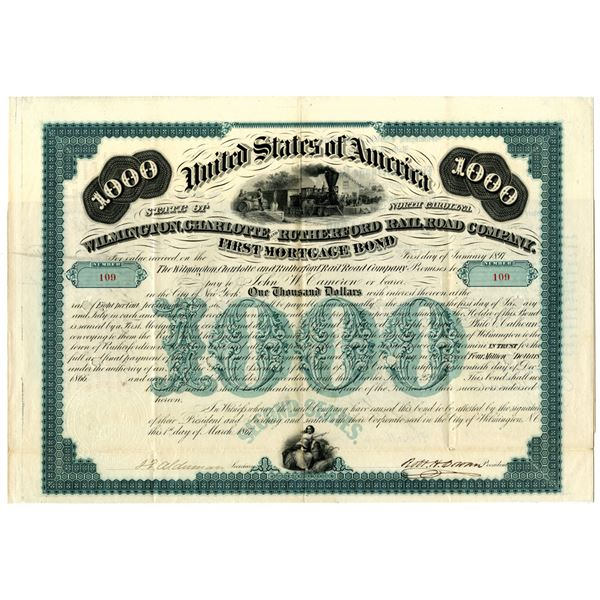 Wilmington, Charlotte and Rutherford Rail Road Co., 1867 I/C Bond.
