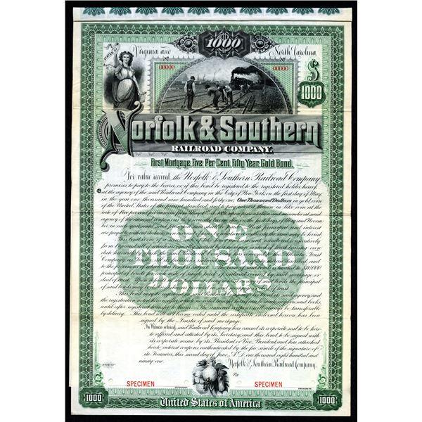Norfolk & Southern Railroad Co. 1891 Specimen Bond.