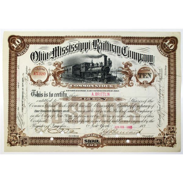 Ohio and Mississippi Railway Co. 1892 I/C Stock Certificate