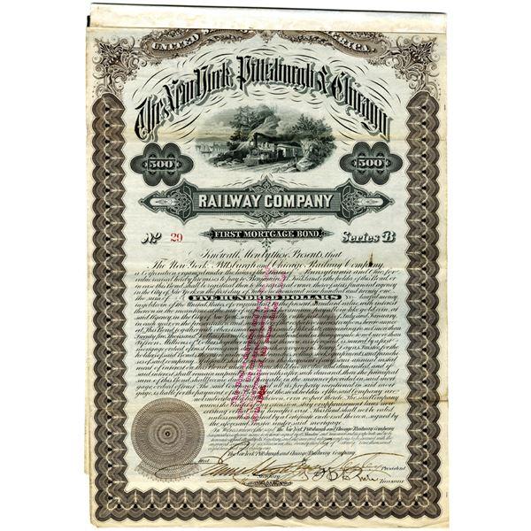 New York, Pittsburgh & Chicago Railway Co., 1881 I/U Bond.