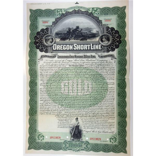 Oregon Short Line Railroad Co., 1897 Specimen Bond.