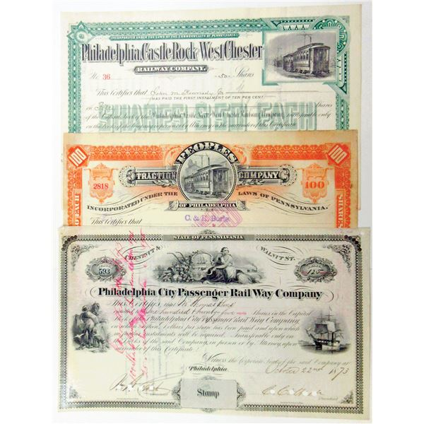 Desirable Trio of Philadelphia Railroad I/C Stock Certificates, 1873-1894