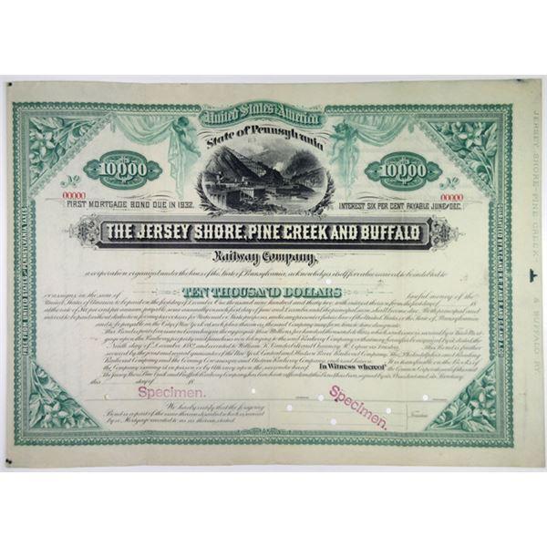 Jersey Shore, Pine Creek and Buffalo Railway Co., 1882 Specimen Bond