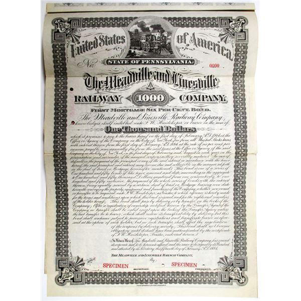 Meadville and Linesville Railway Co. 1884 Specimen Bond Rarity