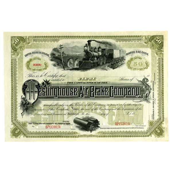 Westinghouse Air Brake Co., ca.1880-90's Specimen Stock Certificate and Air Brake Instruction Manual