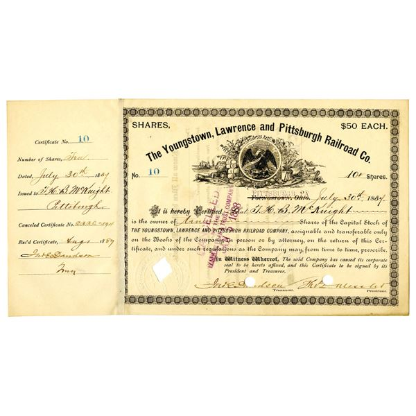 Youngstown, Lawrence and Pittsburgh Railroad Co. 1887 I/C Stock Certificate
