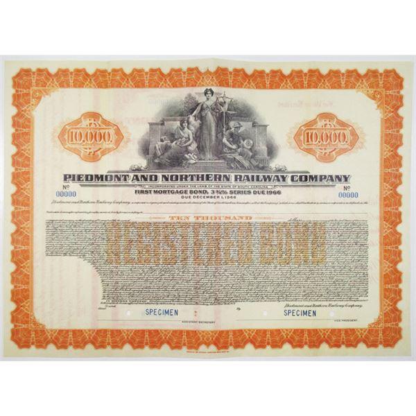 Piedmont and Northern Railway Co. 1936 Specimen Bond Rarity
