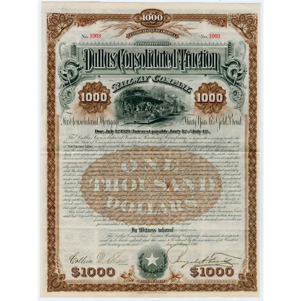 Dallas Consolidated Traction Railway Co. 1890 I/U Bond.