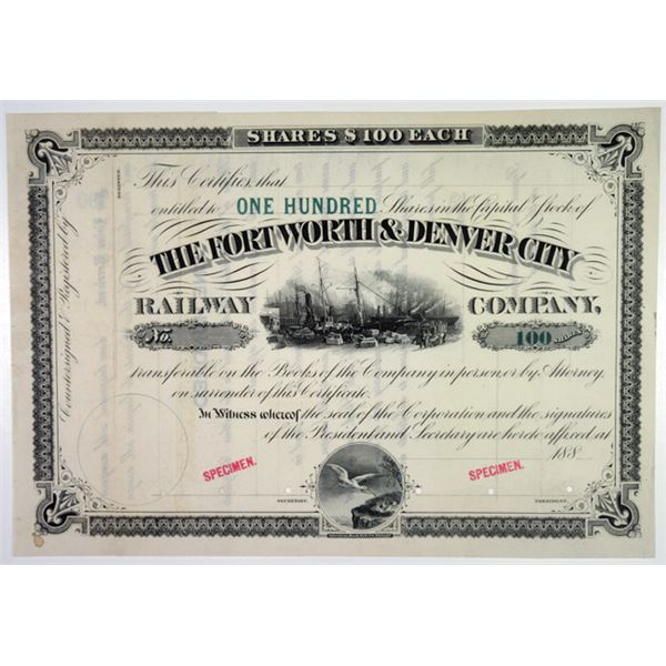 Fort Worth & Denver City Railway Co. 1880's Specimen Stock Certificate