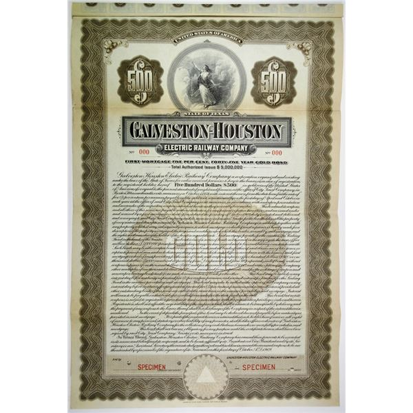 Galveston-Houston Electric Railway Co. 1909 Specimen Bond Rarity