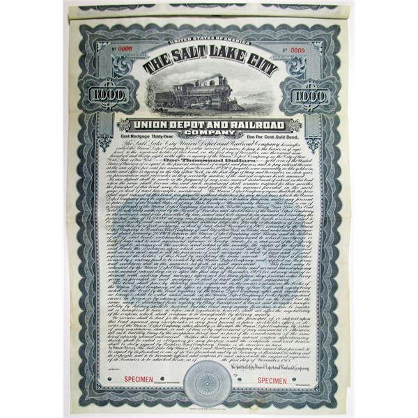 Salt Lake City Union Depot and Railroad Co. 1908 Specimen Bond