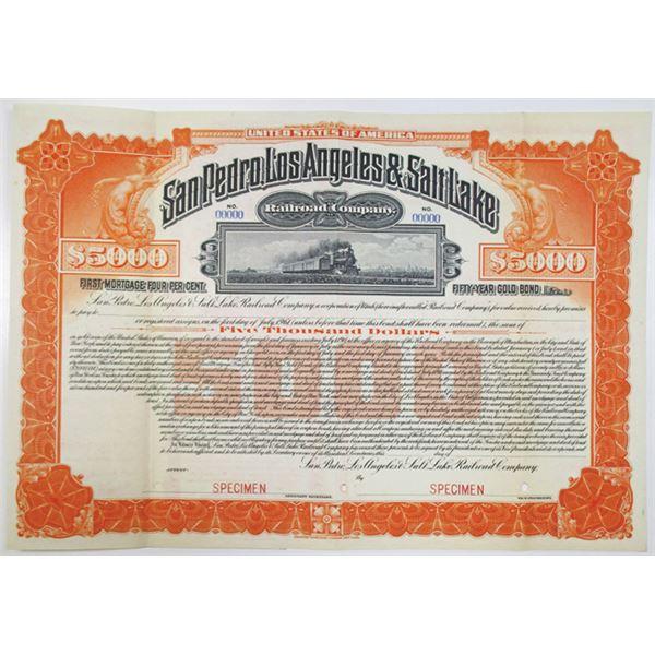 San Pedro, Los Angeles & Salt Lake Railroad Co. 1911 Specimen Bond Rarity