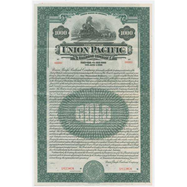 Union Pacific Railroad Co., 1928 Specimen Bond.