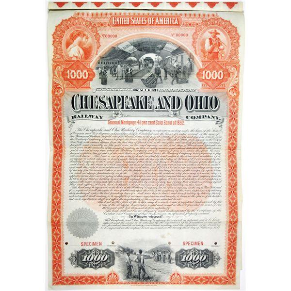 Chesapeake and Ohio Railway Co., 1892 Specimen Bond