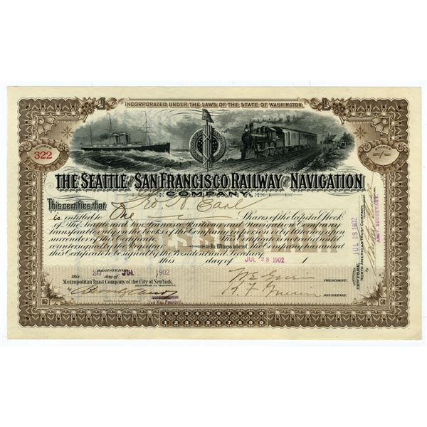 Seattle & San Francisco Railway & Navigation Co. 1902 I/U Stock Certificate.