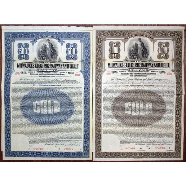 "Milwaukee Electric Railway and Light Co. 1921 ""Series C"" Specimen Bond Pair"