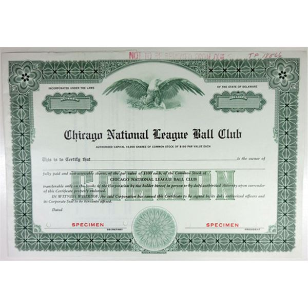 Chicago National League Ball Club Specimen Stock Certificate