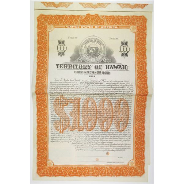 Territory of Hawaii 1924 Specimen Bond