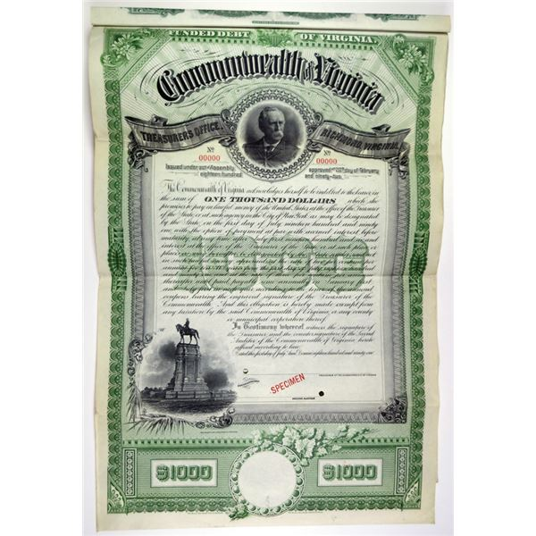 Commonwealth of Virginia 1891 Specimen Bond