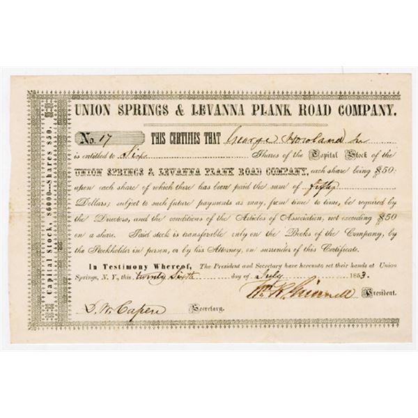 Union Springs & Levanna Plank Road Co., 1853 I/U Stock Certificate
