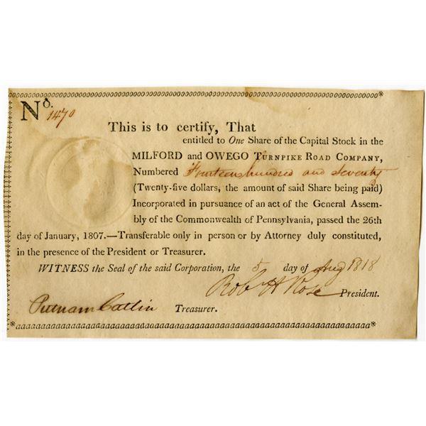 Milford and Owego Turnpike Road Co, 1818 I/U Stock Certificate