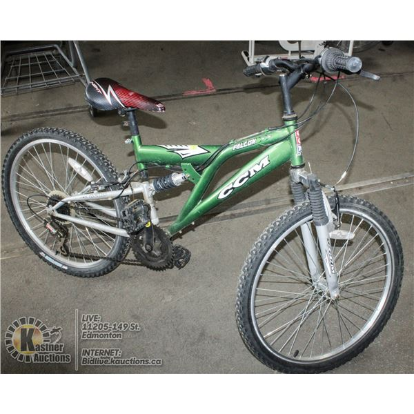 CCM FALCON 10 SPEED DUAL SUSPENSION BICYCLE.