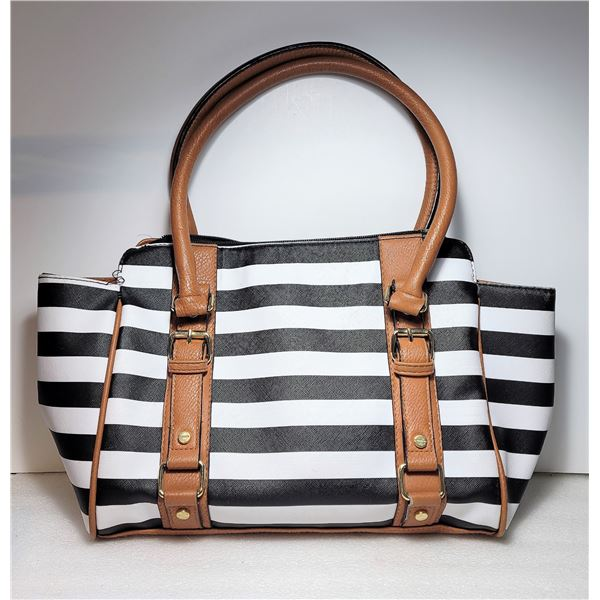 2)  NEW CARMEL LEATHER AND BLACK STRIPED