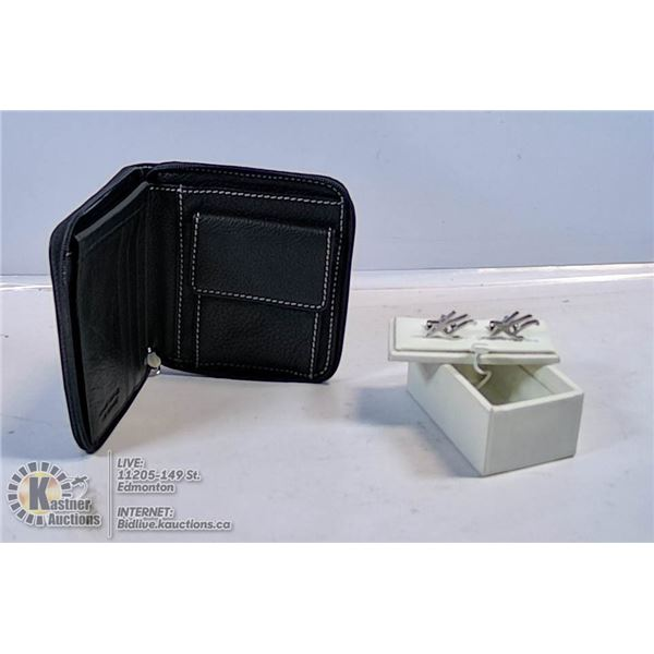 UNCLAIMED MENS KENNETH COLE CUFFLINKS & ZIPPERED