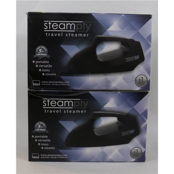 2 NEW BLACK STEAMPLY TRAVEL STEAMERS