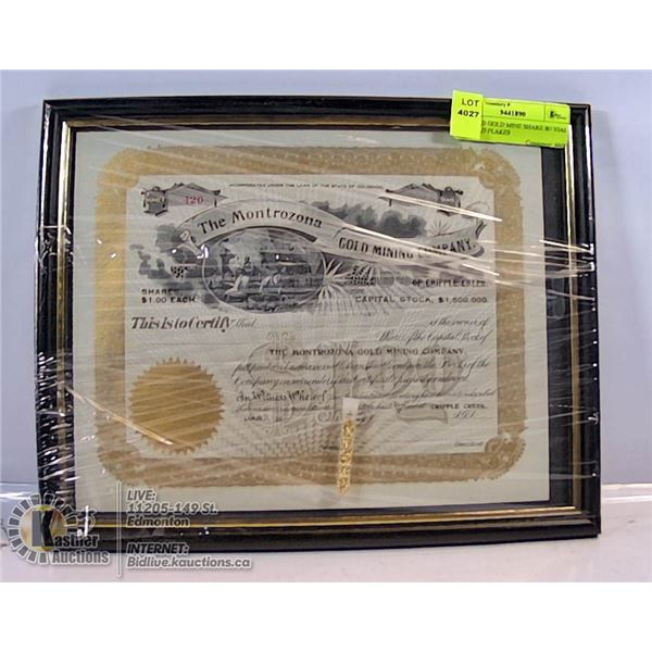 FRAMED GOLD MINE SHARE W/ VIAL OF GOLD FLAKES