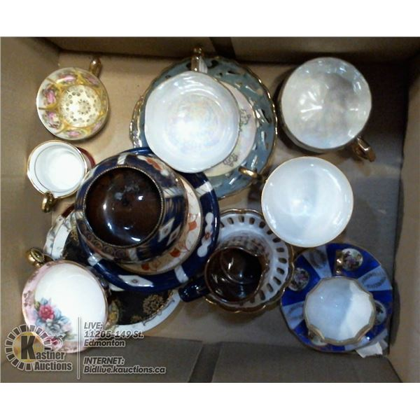 BOX LOT OF TEA CUPS AND SAUCERS